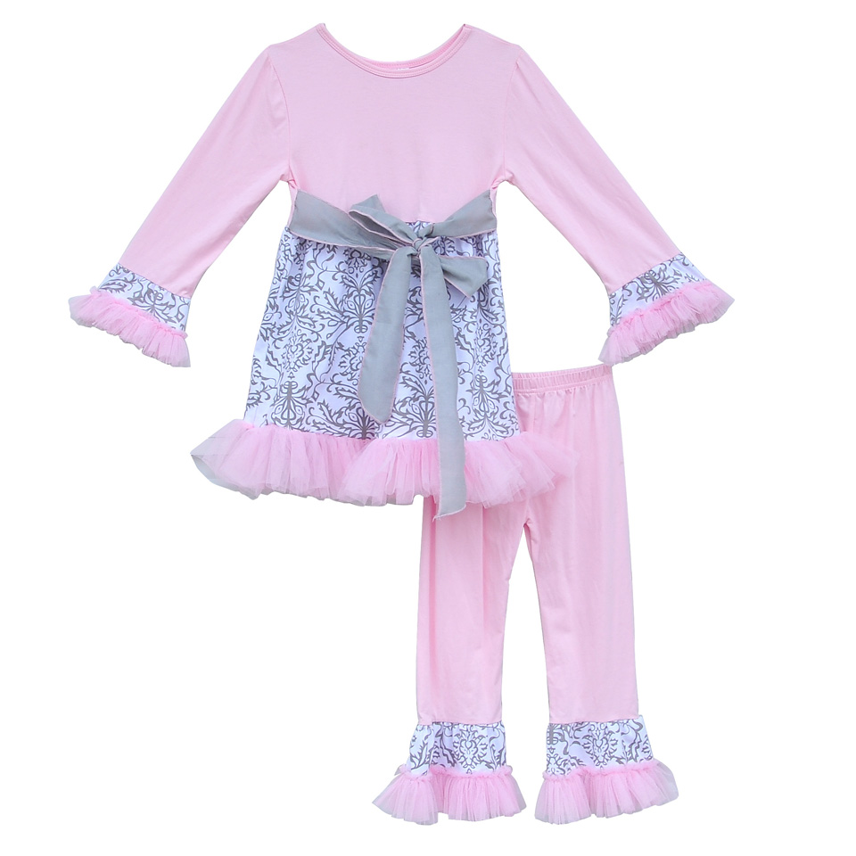 New Spring Toddler Girls Lovely Outfits Pink Belt Top With Lace Knitted Cotton Ruffle Pants Boutique Children Clothing Sets F031
