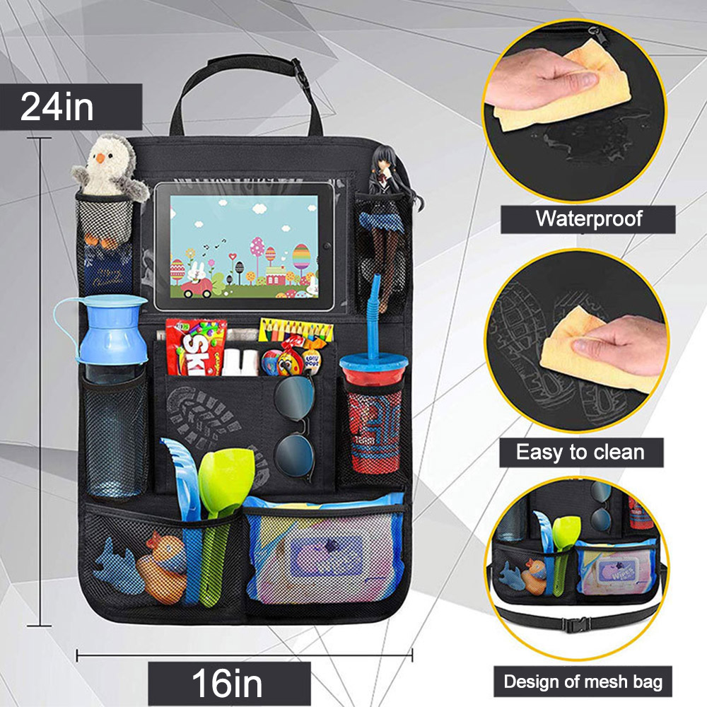 Image 4 - Car Backseat Organizer with Touch Screen Tablet Holder + 9 Storage Pockets Kick Mats Car Seat Back Protectors for Kids Toddlers-in Stowing Tidying from Automobiles & Motorcycles