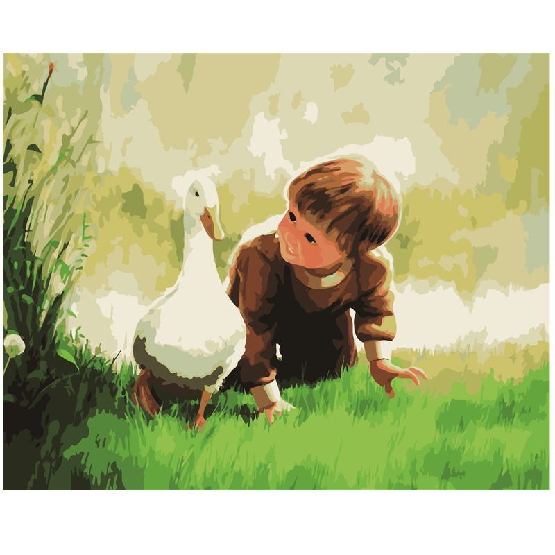 Decoration Picture Oil-Paintings Numbers-Wall-Decor 40x50cm Canvas With Duck Digital