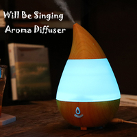 New USB Bluetooth Aroma Diffuser Water Drop Wood Grain Air Humidifier 235ML Colorful Night Light Essential