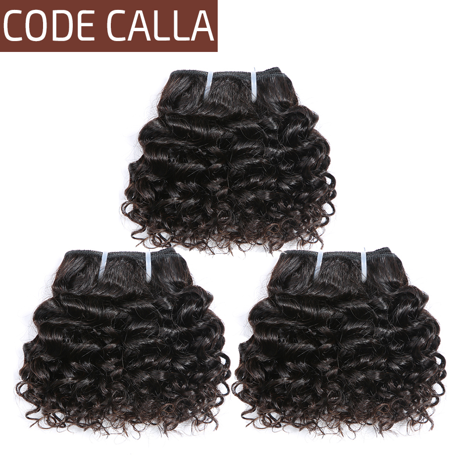 Code Calla Pre-Colored Indian Raw Virgin Human Hair Bundles Kinky Curly 6PCS Can Make A Wig Kid's Hairstyle for Little Girl
