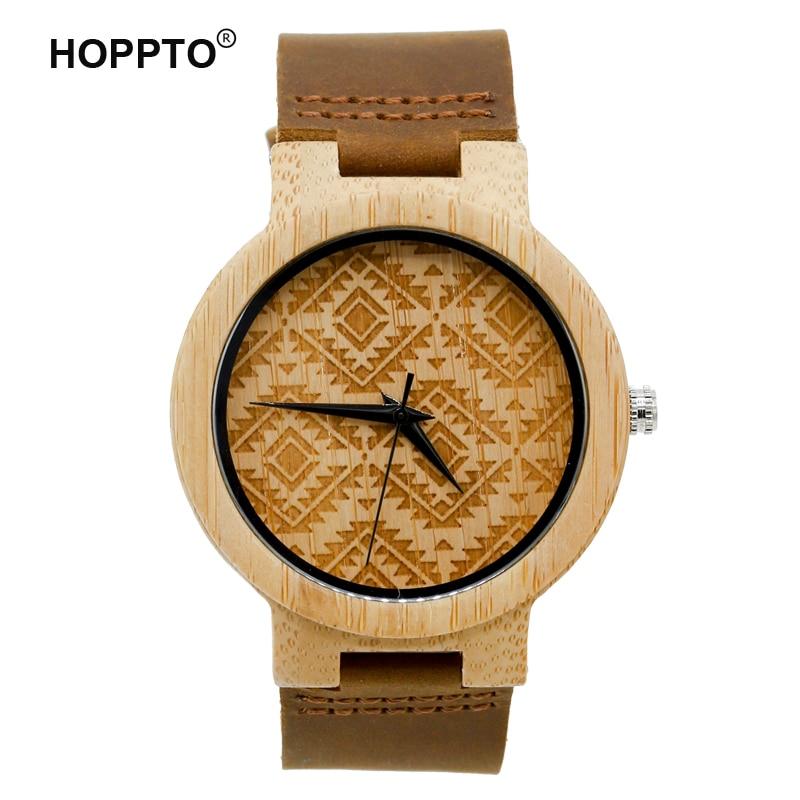 ФОТО HOPPTO Brand 2017 Women Fashion Bamboo Wooden Men Wristwatch Genuine Cowhide Leather Band Lovers' Wood Watches relogio feminino
