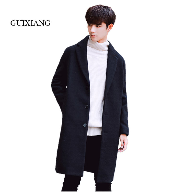2019 New Arrival Style Men Woolen Overcoat Fashion Casual Loose Solid Single Breasted Men's Long Woolen Trench Jacket Coat M-2XL