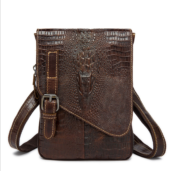 The first layer of cow leather crocodile pattern men's shoulder bag messenger bag casual bags Genuine leather men bag men s leather oblique cross chest packs of the first layer of leather deer pattern men s shoulder bag korean fashion men s bag