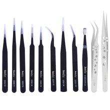 Anti static ESD pinzas Stainless Steel Tweezers Curved Straight Tip Forceps Precision Soldering Tweezers Repair Tool