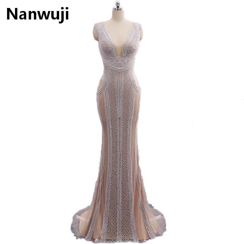Instock Sirena Večernje haljine Dugi 2017 Novo s dubokim V-Neck - Haljina za posebne prigode - Foto 1