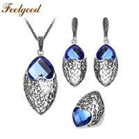 New Arrival Vintage Silver Plated Heart Shaped Sapphire Crystal Jewelry Sets