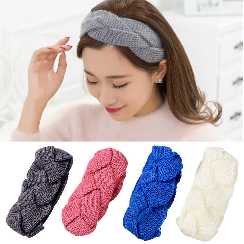 18f3f0910a4cfc PQ MISM 8 Colors Crochet Twist Knitted Headwrap Fashion Winter Ear Warmer  Solid Headband Knit Elastic
