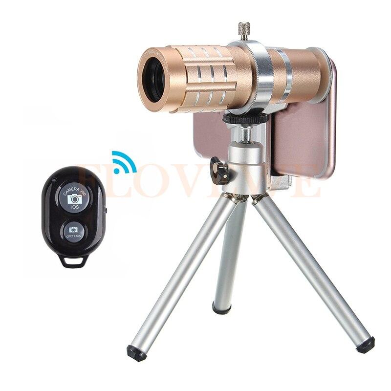 imágenes para Obturador Bluetooth HD 12x de Zoom Teleobjetivo Lentes Lentes de Cámara Del Telescopio Para el iphone 4 5C 5S SE 6 6 S 7 Teléfono Celular Lente Trípode Clip