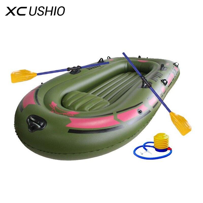 1 ensemble 2-3 Personne Portable bateaux gonflables Haute Résistance PVC En Caoutchouc Bateau De Pêche 230x137 cm avec des Palettes pompe Kit de Rapiéçage