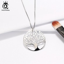 Real 925 Sterling Silver Women Necklaces Perfect Polished Exquisite Tree of Life Pendant