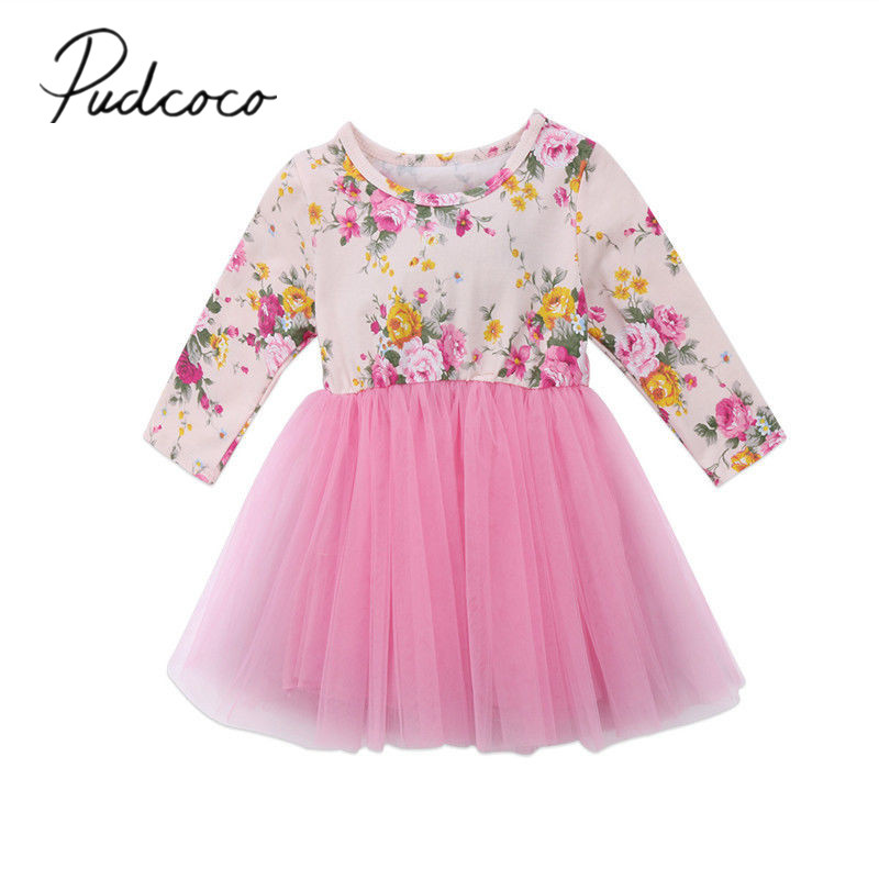 2017 Brand New Newborn Toddler Infant Baby Girls Long Sleeve Floral Tulle Tutu Dresses Autumn Cute Clothes 0-5T newborn toddler infant baby girls floral clothing zipper cute romper jumpsuit long sleeve outfit clothes