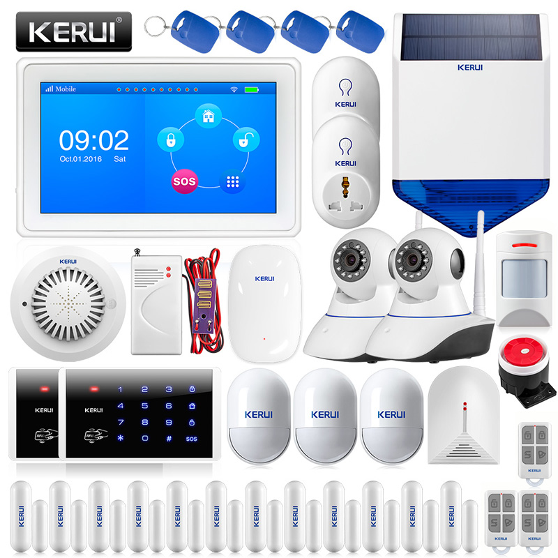 KERUI Color Display Touch Screen WiFi GPRS GSM Multiple Pattern Burglar Home Security Alarm System wireless smoke fire detector for wireless for touch keypad panel wifi gsm home security burglar voice alarm system