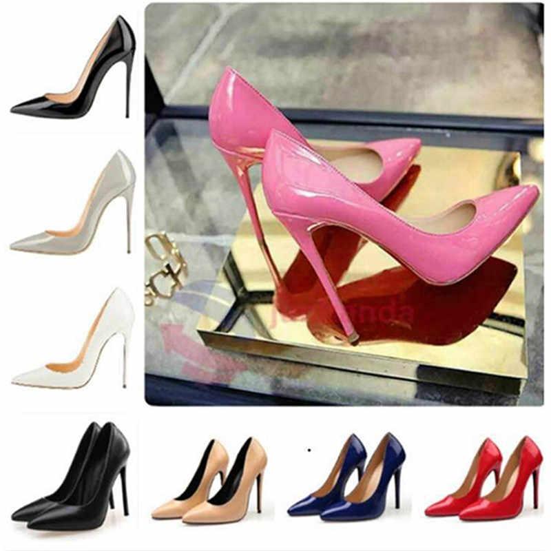 Sepatu Wanita High Heels Pompa 11 Cm Tacones Menunjuk Toe Stiletto Talon Femme Seksi Pernikahan Wanita High Heels Besar ukuran 35-44