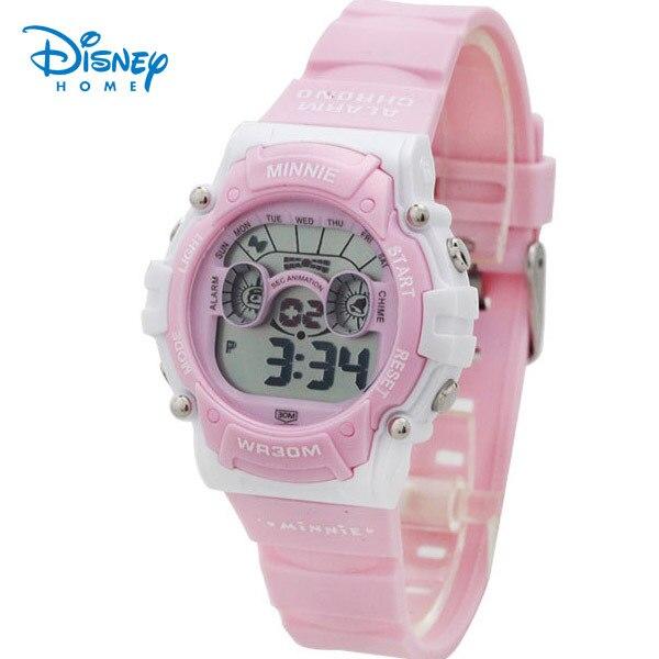 100% Подлинная Дисней Цифровые Часы 30 М Минни Бренд Montre Enfant часы gils розовые Часы Спортивные Наручные Часы LCD-PS029-1
