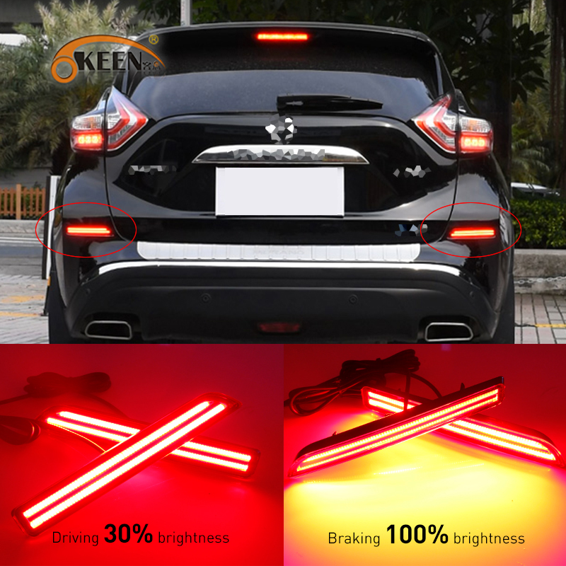 OKEEN 2pcs For Nissan Murano 2015 2016 Car LED DRL Rear Bumper LED Brake Light Turn Signal Light tail led Warning fog lamp 2pc abs after the triangle decorate for nissan murano 2015