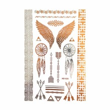 Environment-Friendly Temporary Gold Tattoo Silver Metallic Tattoos Flash Body Art Tatto Henna Tatouage Taty
