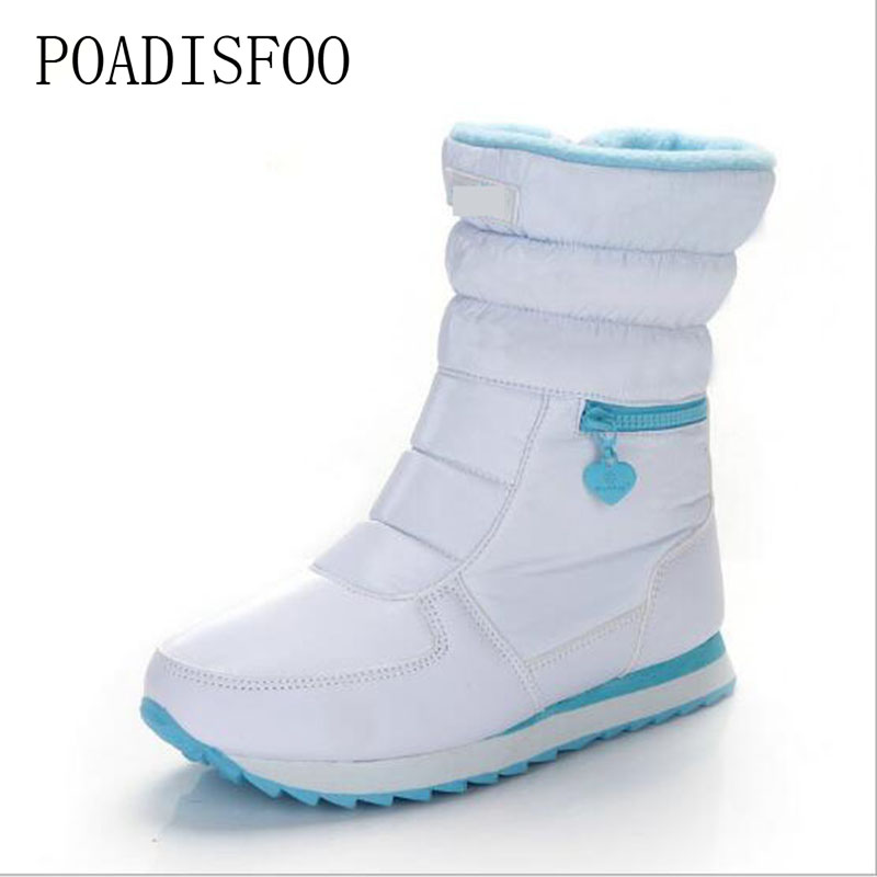 2018 Women Snow white boots woman winter boots women Platform snow boots women's shoes Brand shoes JSH-M025 platform bowkont flocking snow boots page 6