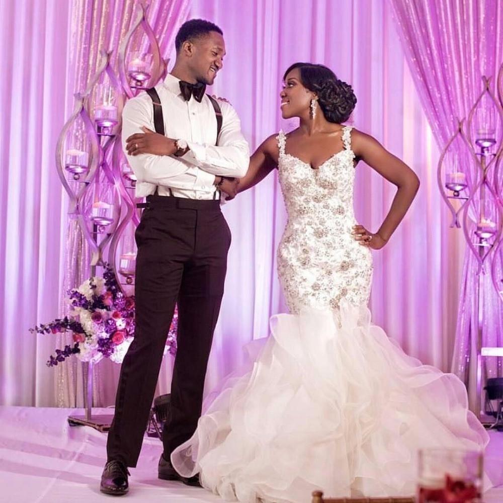 2017 Luxury Wedding Dress Mermaid Organza African Black ...