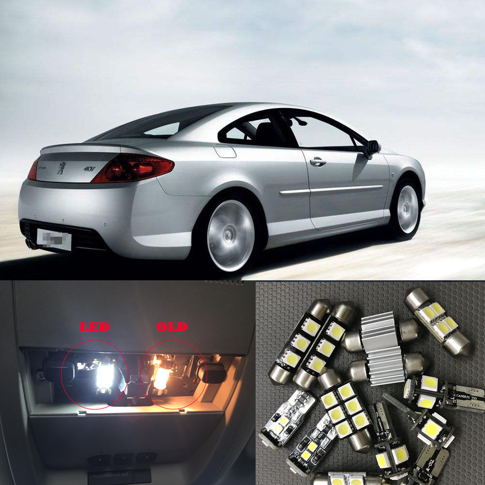 7pcs free shipping Error Free Car LED <font><b>Interior</b></font> Light Kit Package <font><b>for</b></font> <font><b>Peugeot</b></font> <font><b>407</b></font> <font><b>accessories</b></font> 2004-2010 image