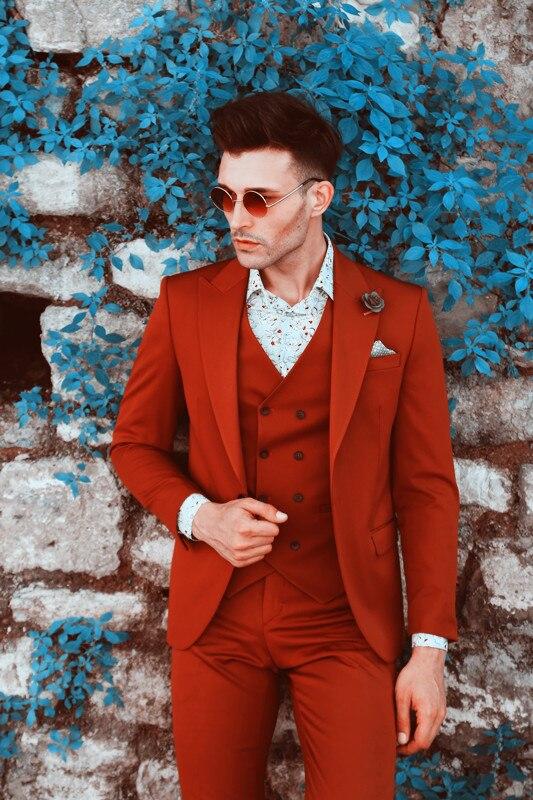 2019 costumes de Mariage pour hommes rouge Costume pour hommes Blazer Slim Fit Costume Homme Mariage décontracté 3 pièces Costume hommes pour marié Costume d'affaires