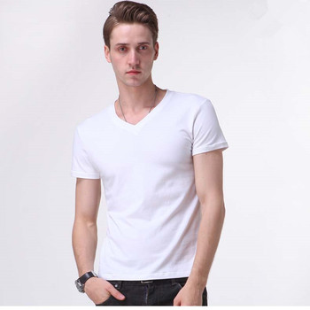 2019 Summer New Arrival Men's Short-sleeved T-shirt Tide Male Korean Solid Pure White Cotton V-neck Tight From Free Shipping