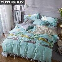 TUTUBIRD Blue Dinosaur Cartoon Bedding Sets 100 Cotton Korean Style Bedlinen 4 PCs Bedspread Sheet Pillowcase