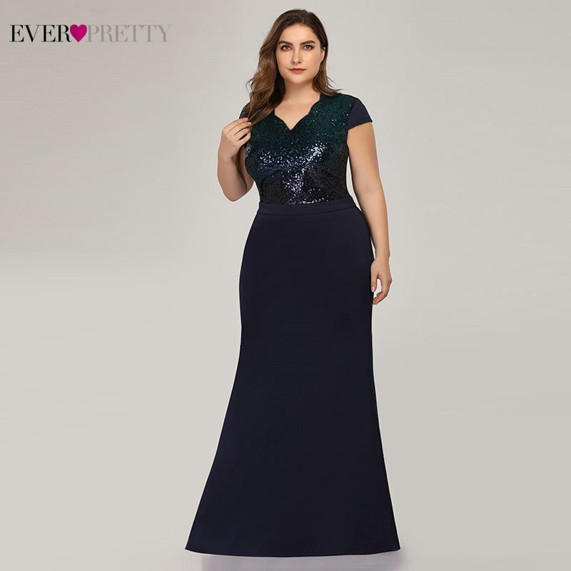 Plus Size Sequined Mermaid Long Prom Dresses 2019 Ever Pretty V-Neck Short Sleeve Elegant Women Party Dresses Vestidos De Gala