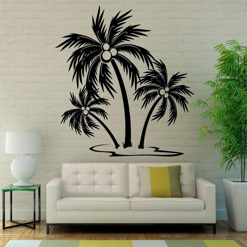 Palm Trees Wall Sticker Tropical Trees Wall Decal Bathroom