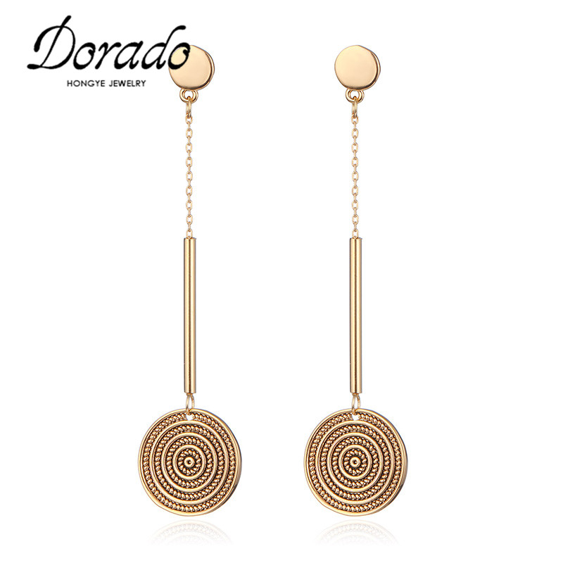 Dorado Original Design Women Earring Superb Craftsmanship Carve Printing Round Long Drop Earrings For Women