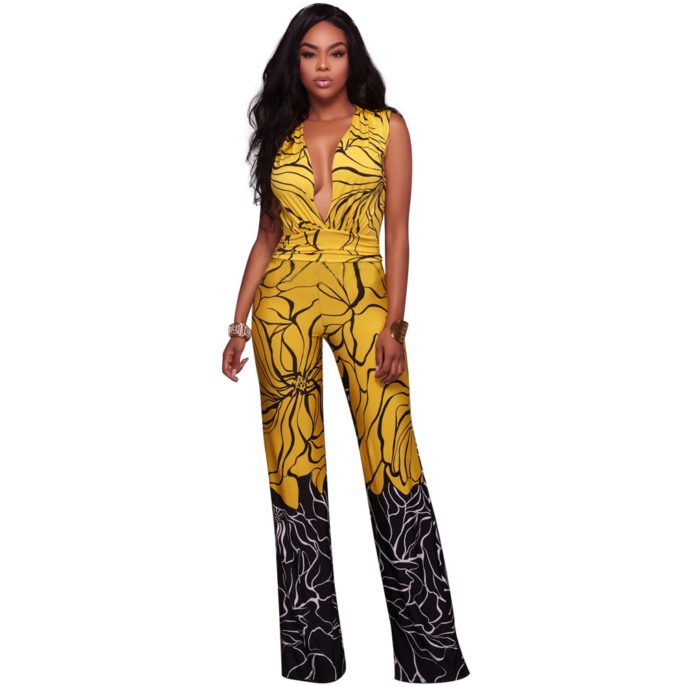 Women Deep V Print Sexy Long Jumpsuits Ladies Sleeveless Bandage Rompers Overalls for Womens