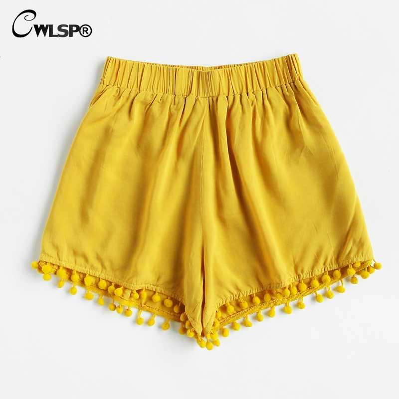 CWLSP pomponem elastyczny pas lato spodenki jeansowe wysokiej talii dla kobiet bawełna Patchwork koreański styl na co dzień miękkie krótkie feminino QL3857