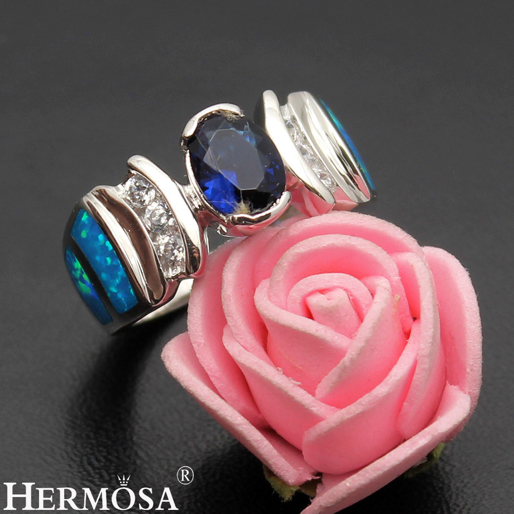 Большая Акция Hermosa Красивый природный австралийский опал синий Sapphire925 серебро обещание кольцо Размеры 7 DF73