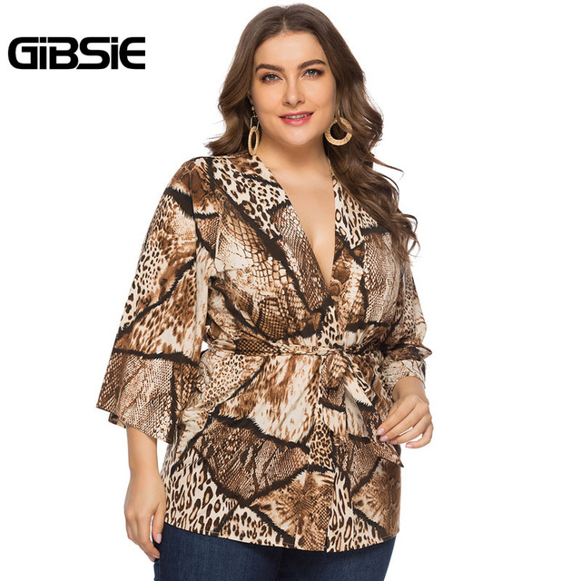 GIBSIE Sexy Deep V Neck Snakeskin Print Cardigan Top 4xl 5xl 6xl Women Plus Size Office Lady 3/4 Sleeve Belted Blouses Tops 5