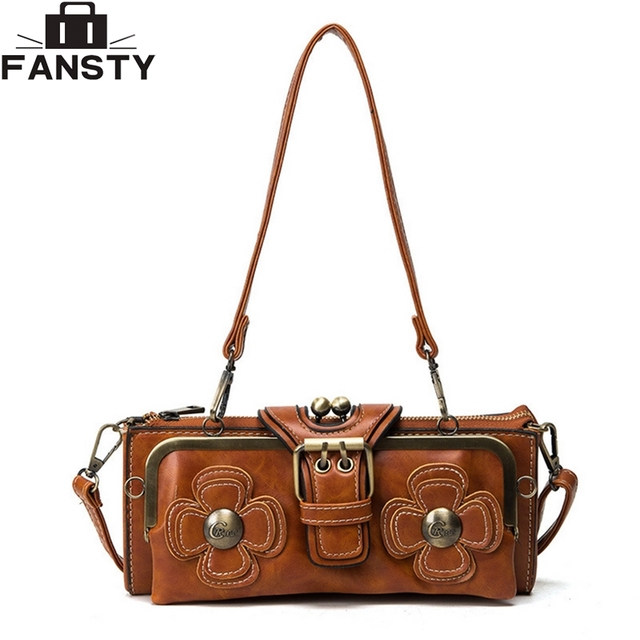 2016 Winter New Retro Women Handbags Vintage Flower Clutch Shoulder Bag High Quality Solid PU Leather Crossbody Messenger Bag