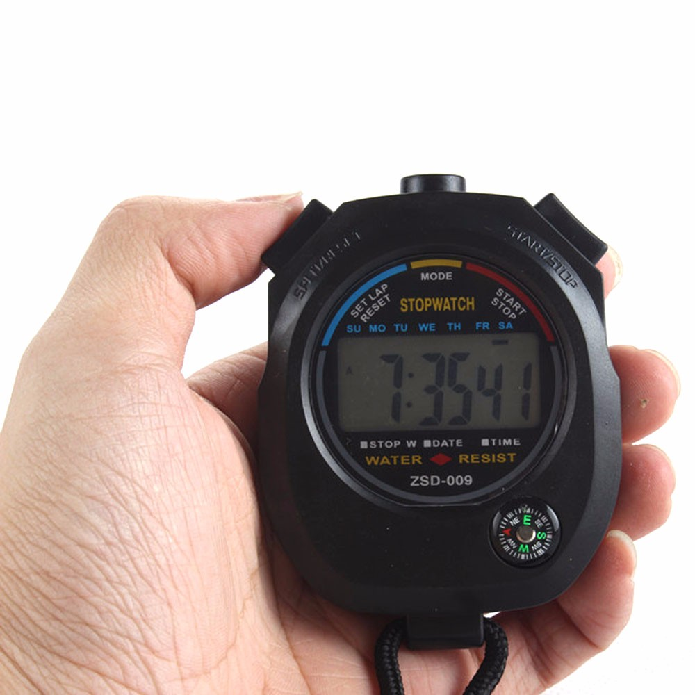 quality Running Stop Waterproof Digital LCD Stopwatch Chronograph With Strap Timer Counter Sports Alarm 2016 new