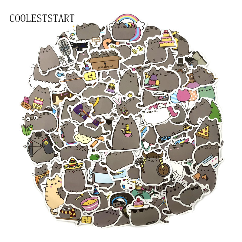 100 Pieces/lot Cartoon Pusheen Cat Cute Stickers For Phone Laptop Fridge Bicycle Pvc Waterproof Decal Toy Sticker For Kid