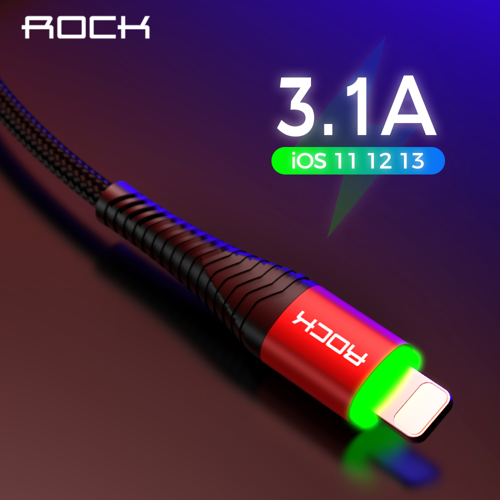 ROCK LED Lighting Charger 3.1A Cable For iPhone X 8 7 6 Max XR Fast Charging Hi-Tensile