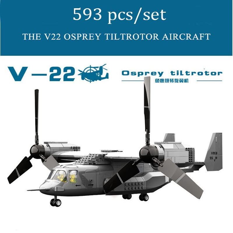593PCS Military Army V22 Osprey Tiltrotor Aircraft Fighter Model Building Block Aircraft Pilot Figure Brick Educational Toy oenux world war 2 united state army air forces fighter p 47 thunderbolt aircraft vehicle model military building block brick toy