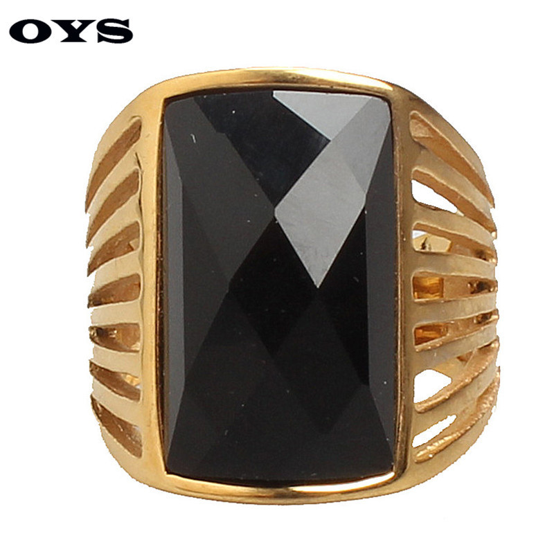 New Design Titanium Stainless Steel Retro Luxury Vintage Jewelry Fashion Finger Gem Ring For Men Party Wedding Wholesale Ring