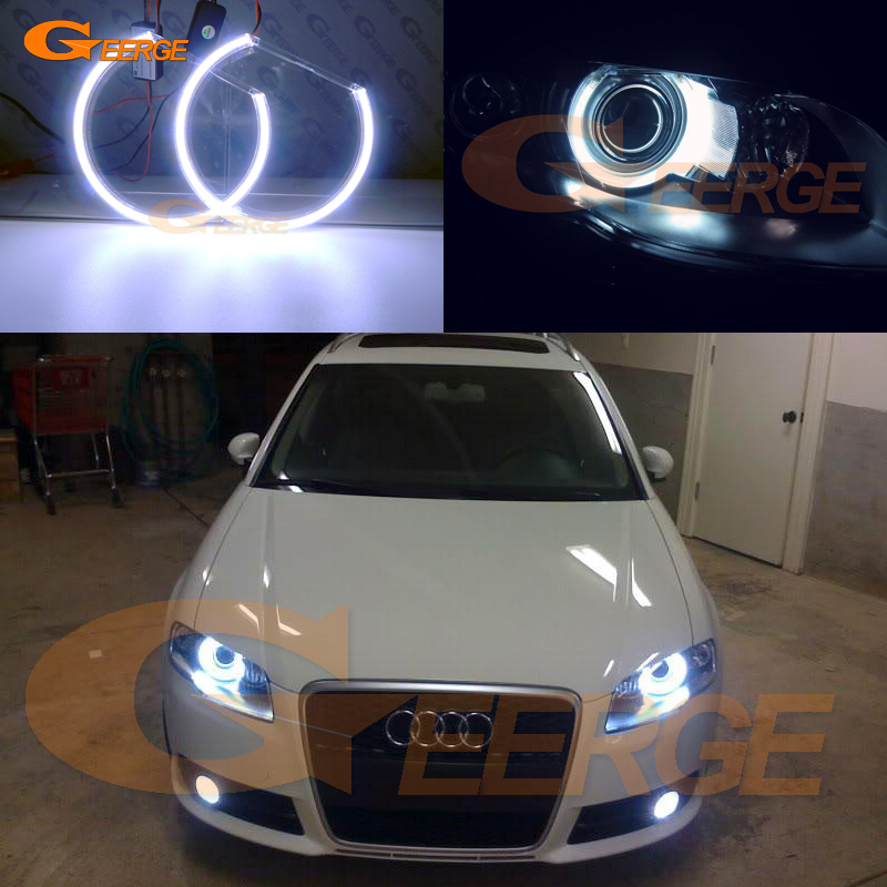 For Audi A4 S4 RS4 2005 2006 2007 2008 2009 Xenon headlight Excellent Ultra bright illumination COB led angel eyes kit halo ring for alfa romeo 147 2005 2006 2007 2008 2009 2010 headlight ultra bright illumination cob led angel eyes kit halo rings