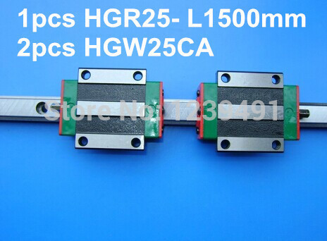 1pcs original hiwin linear rail HGR25- L1500mm with 2pcs HGW25CA flange block cnc parts free shipping to argentina 2 pcs hgr25 3000mm and hgw25c 4pcs hiwin from taiwan linear guide rail