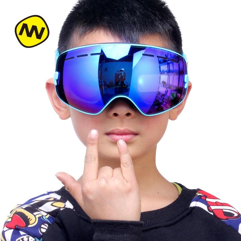 NANDN Parent Children font b Ski b font Goggles Anti Fog UV400 Big Spherical Double Lens