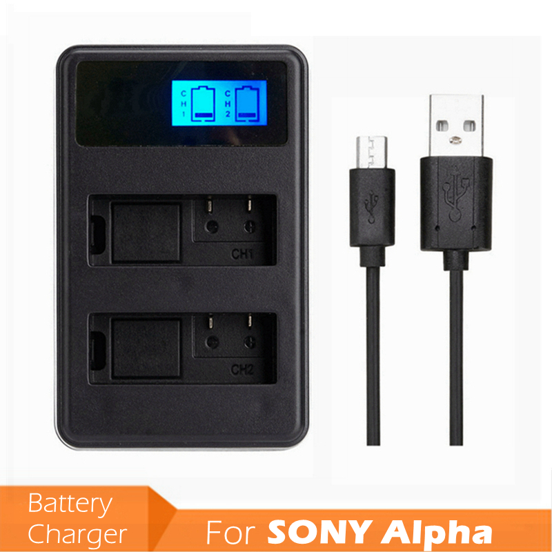 NPFW50 USB Input LCD Display Digital Camera <font><b>Battery</b></font> Dual Charger <font><b>NP</b></font>-<font><b>FW50</b></font> <font><b>NP</b></font> <font><b>FW50</b></font> for <font><b>SONY</b></font> Alpha A7 A7R A7S A5000 A6000 NEX-3 image