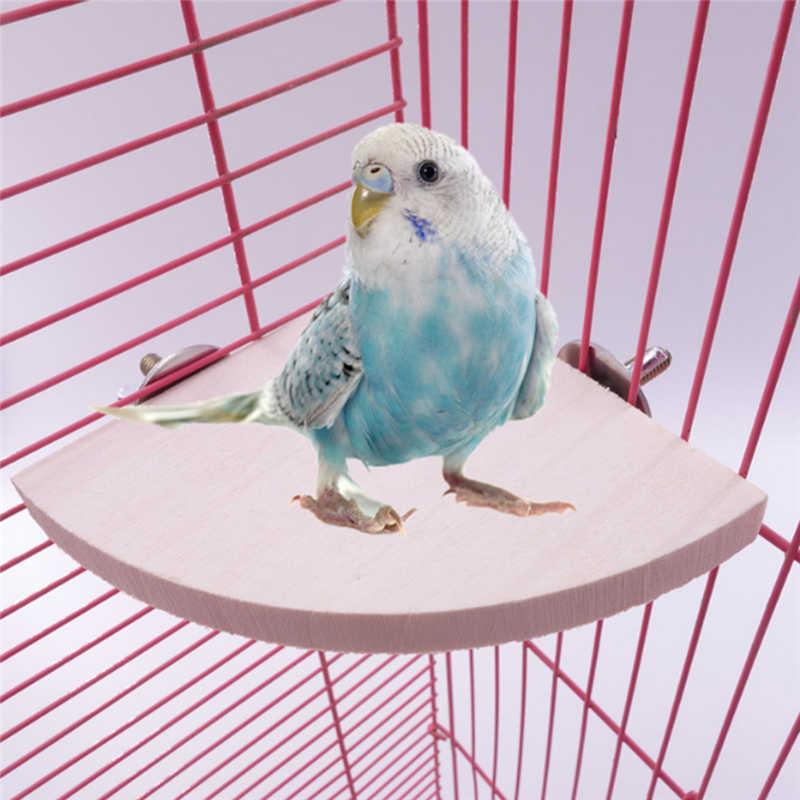 New Pet Bird Parrot Wooden Platform Bracket Toy Hamster Branch Bird Cage Toy 3 Size Pet Supplies