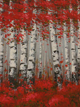 Free shipping trees oil paintings on canvas red black white home decoration Modern Oil Painting wall