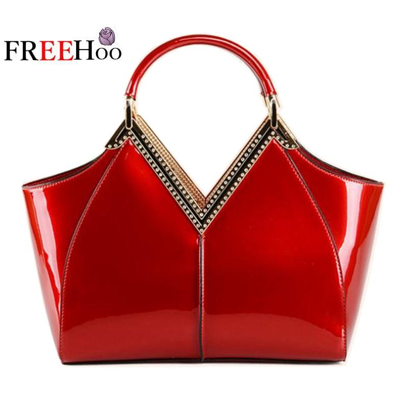 Bags for women 2018 new diamond metal patent pu leather Big red bride bag Wedding bag handbag bolsa feminina
