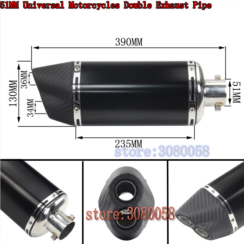 Motorcycle Exhaust Universal 36mm- 51mm Stainless Steel Fit Most Motorbike Muffler Exhaust End Pipe Escape 2 Holes