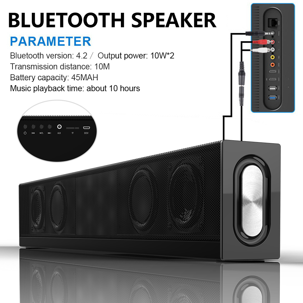 20W HIFI Bluetooth Speaker Soundbar 3D Computador PC TV Subwoofer Falante Portátil Super Bass Sem Fio Rádio FM Mic 4 motoristas