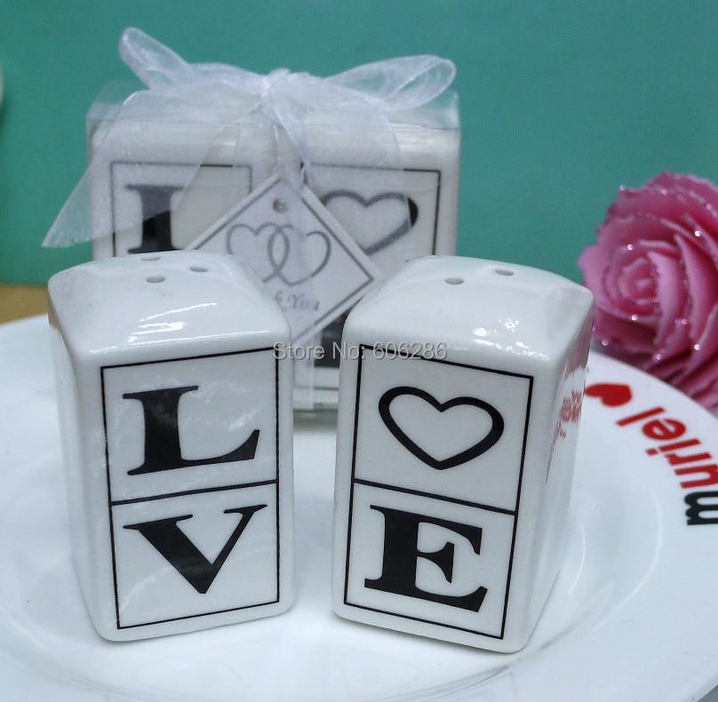 100 шт = 50 пар/лот свадебный сувенир для гостей керамическая любовь соль и перец шейкер влюбленных подарок на день Святого Валентина